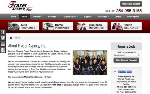 Screenshot of About Page fraseragency.com - About Fraser Agency, Inc. in Stephenville, Texas - Fraser Agency, Inc. - captured Sept. 25, 2018