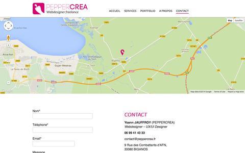 Screenshot of Contact Page peppercrea.fr - Contact | Création de site internet à Bordeaux, webdesigner freelance à Bordeaux - captured Sept. 29, 2014