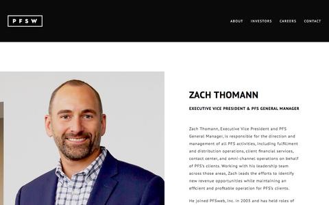 Screenshot of Team Page pfsweb.com - Zach Thomann - Executive Vice President & PFS General Manager - captured Feb. 20, 2020