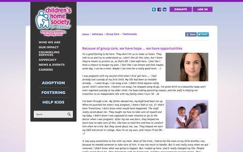 Screenshot of Testimonials Page chsfl.org - GroupCareTeens - Children's Home Society of Florida - captured Jan. 27, 2016