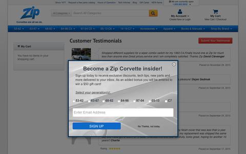 Screenshot of Testimonials Page zip-corvette.com - Testimonials - captured Sept. 22, 2018