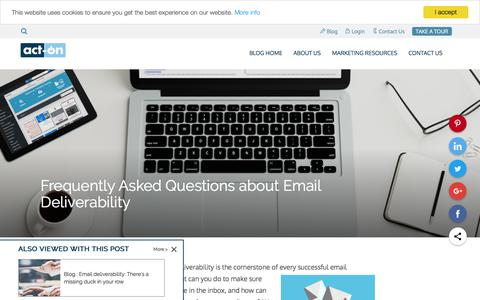 Screenshot of FAQ Page act-on.com - Frequently Asked Questions about Email Deliverability - captured July 12, 2019