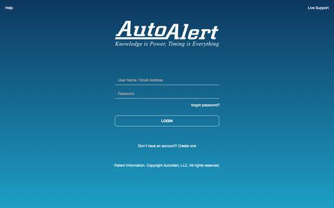 Screenshot of Login Page autoalert.com - AutoAlert | Login - captured Oct. 20, 2019