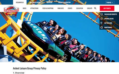 Screenshot of Privacy Page dreamworld.com.au - Ardent Leisure Group Privacy Policy | general | Dreamworld - captured Jan. 7, 2016