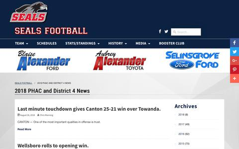 Screenshot of Press Page selinsgrovefootball.org - 2018 PHAC and District 4 News - Seals Football - captured Oct. 26, 2018
