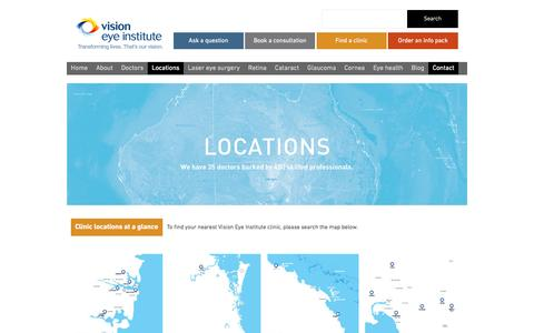 Screenshot of Contact Page Locations Page visioneyeinstitute.com.au - Australia Eye Clinic Locations | Vision Eye Institute - captured Feb. 24, 2016