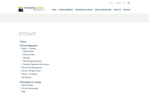 Screenshot of Site Map Page innovaderm.ca - Sitemap | Innovaderm, CRO Specialized in Dermatology - captured Oct. 6, 2014