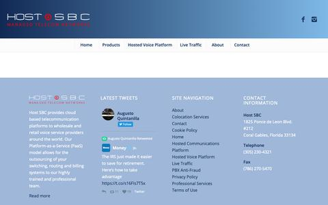 Screenshot of Products Page hostsbc.com - Products – Host SBC - captured Nov. 11, 2018