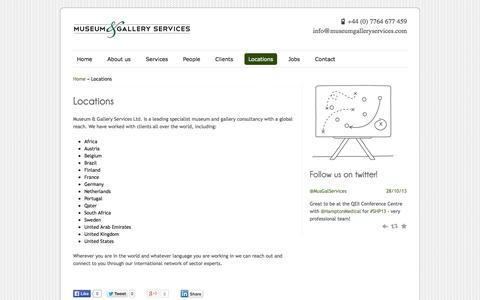 Screenshot of Locations Page museumgalleryservices.com - Locations | Museum & Gallery Services - captured Oct. 26, 2014
