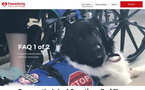 Screenshot of FAQ Page pawsitivityservicedogs.com - Frequently Asked Questions About Service Dogs - captured July 16, 2018
