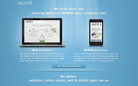 Screenshot of Home Page apond.pt - Web and Mobile Application Development - Apond - captured Sept. 30, 2014