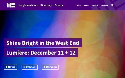 Screenshot of Home Page westendbia.com - West End Business Improvement Association - captured Dec. 4, 2015