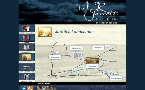 Screenshot of Maps & Directions Page frjarrettmysteries.com - Map of Jarrett's Landscape featured in the FRJarrett Mysteries by Rebecca Jenkins - captured Oct. 27, 2014