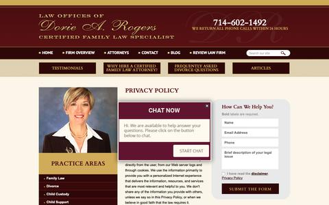 Screenshot of Privacy Page drfamilylaw.com - Privacy Policy | The Law Offices of Dorie A. Rogers, APC | Orange County, California - captured Sept. 27, 2018