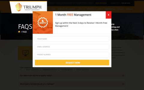 Screenshot of FAQ Page triumphpropertymanagement.com - FAQs - Triumph Property Management - Las Vegas - captured Oct. 20, 2018
