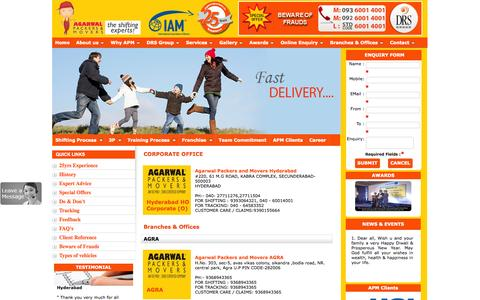 Screenshot of Locations Page agarwalpackerss.com - Locations | Branches and Location all over INDIA | Agarwal Packers and Movers - captured Nov. 5, 2014