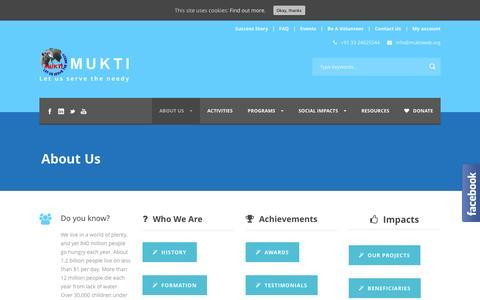 Screenshot of About Page muktiweb.org - About MUKTI, NGO of India | Mukti - captured Nov. 30, 2016