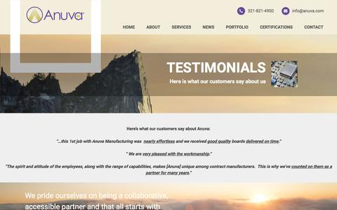 Screenshot of Testimonials Page anuva.com - What customers say about Anuva good quality on time delivery - captured May 30, 2017