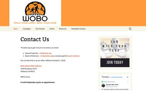 Screenshot of Contact Page wobo.org - Contact Us | Walk Oakland Bike Oakland - captured Oct. 18, 2018