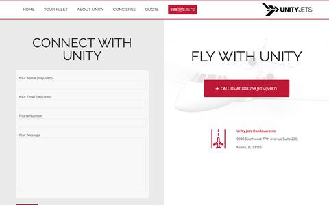 Screenshot of Contact Page unityjets.com - Contact – Unity Jets - captured June 11, 2017