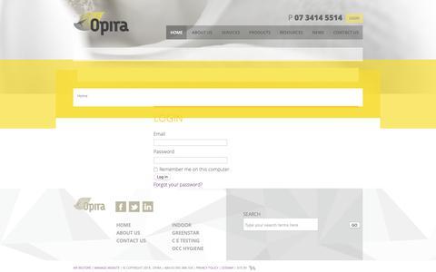 Screenshot of Login Page opira.com.au - Environmental air quality testing and management - captured Oct. 19, 2018