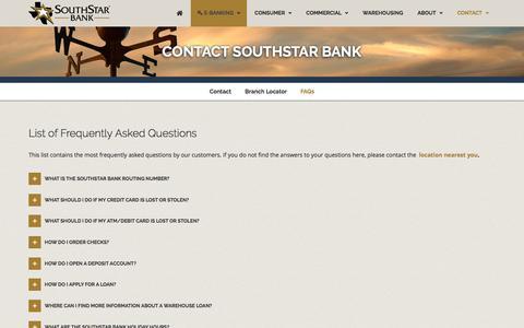 Screenshot of FAQ Page southstarbank.com - Contact SouthStar Bank - captured May 22, 2017