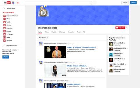 Screenshot of YouTube Page youtube.com - tinkersandthinkers  - YouTube - captured Nov. 5, 2014