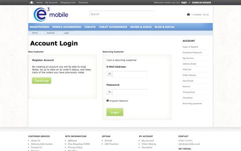 Screenshot of Login Page e3mobile.co.uk - Account Login - captured Oct. 28, 2014
