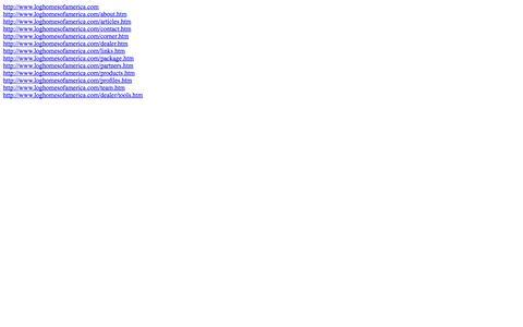 Screenshot of Site Map Page loghomesofamerica.com captured Sept. 30, 2014