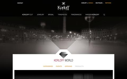 Screenshot of Products Page korloff.fr - Products / Korloff World / Accueil - Korloff - captured Oct. 6, 2014