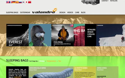 Screenshot of Home Page valandre.com - Valandre - Down Sleeping Bags and Outerwear technology from the Pyrenees - captured Aug. 12, 2015