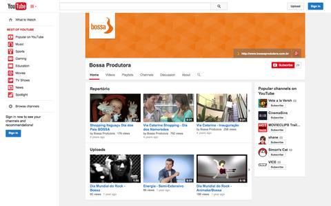 Screenshot of YouTube Page youtube.com - Bossa Produtora  - YouTube - captured Oct. 23, 2014