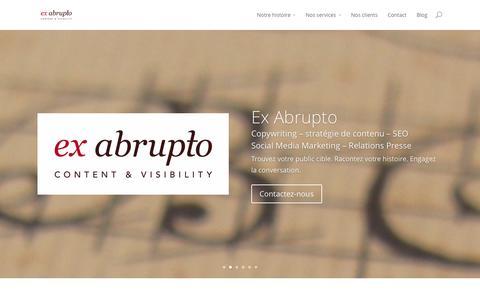 Screenshot of Home Page ex-abrupto.be - Ex Abrupto : Copywriting, Stratégie de contenu, Visibilité - captured Sept. 30, 2014