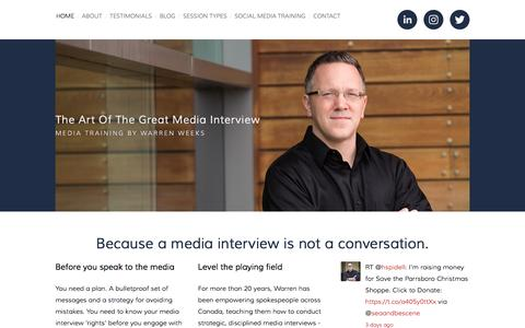 Screenshot of Home Page mediatrainingtoronto.com - The Art of the Great Media Interview - captured Dec. 1, 2016