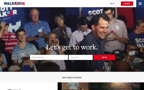 Screenshot of Home Page scottwalker.com - Scott Walker for America - captured Aug. 6, 2015
