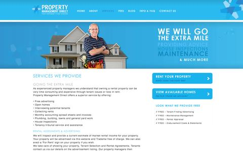 Screenshot of Services Page propertymanagementdirect.co.nz - We will go the extra mile providing the full range of services | Property Management Direct - captured Sept. 30, 2014