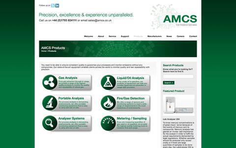 Screenshot of Products Page amcs.co.uk - AMCS - captured Oct. 7, 2017