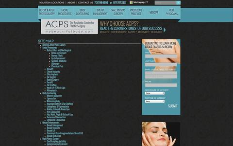 Screenshot of Site Map Page mybeautifulbody.com - Houston Plastic Surgery |  Site Map - captured Oct. 4, 2014