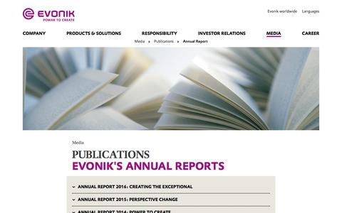Annual Reports - Publications - Evonik Industries AG