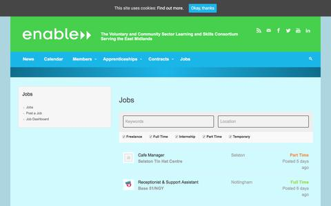 Screenshot of Jobs Page enable.uk.net - Jobs – Enable - captured Aug. 7, 2017