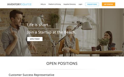 Screenshot of Jobs Page inventorysource.com - Inventory Source Careers | Join a Growing Startup - captured Sept. 7, 2017