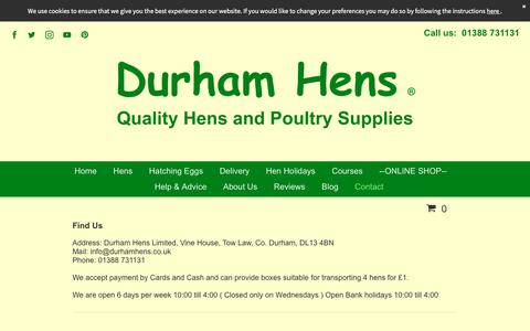 Screenshot of Contact Page durhamhens.co.uk - Contact or Find Durham Hens. - captured Aug. 9, 2018