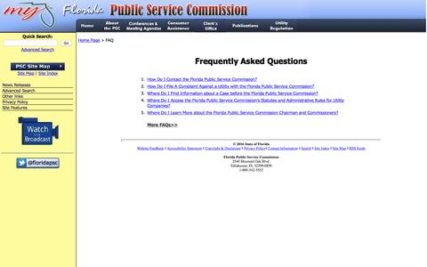 Screenshot of FAQ Page floridapsc.com - Frequently Asked Questions - Florida Public Service Commission - captured Nov. 25, 2016
