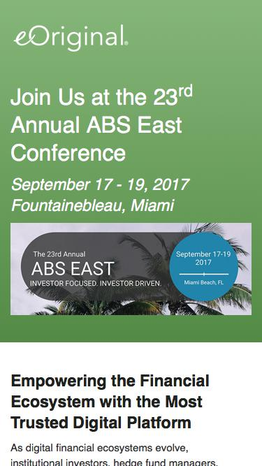 Join eOriginal at 23rd Annual ABS East Event