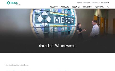 Screenshot of FAQ Page merck.com - Merck.com | Contact Us - captured Nov. 17, 2015