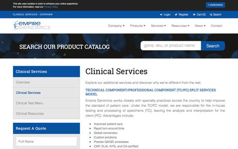 Screenshot of Services Page empiregenomics.com - Clinical Services - Overview - captured July 18, 2018