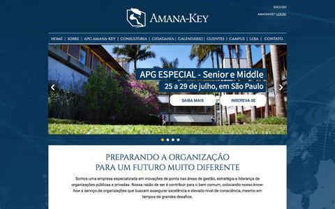 Screenshot of Home Page amana-key.com.br - AMANA-KEY - INOVAÇÕES RADICAIS EM GESTÃO POR UM FUTURO MELHOR PARA TODOS - captured July 25, 2016