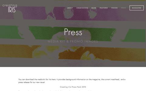 Screenshot of Press Page creatingiris.org - Press Ń Creating Iris | A Literary Magazine for LGBTQ+ Young Adults - captured Dec. 13, 2015