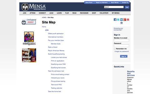 Screenshot of Site Map Page mensa.org - Site Map - American Mensa, Ltd. - captured Sept. 22, 2014