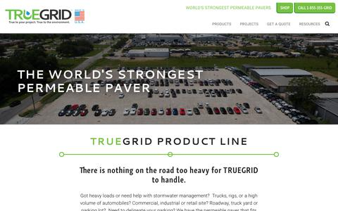 Screenshot of Products Page truegridpaver.com - Plastic Grid Pavers | Stormwater Management Solutions - TRUEGRID Pavers - captured Nov. 14, 2017